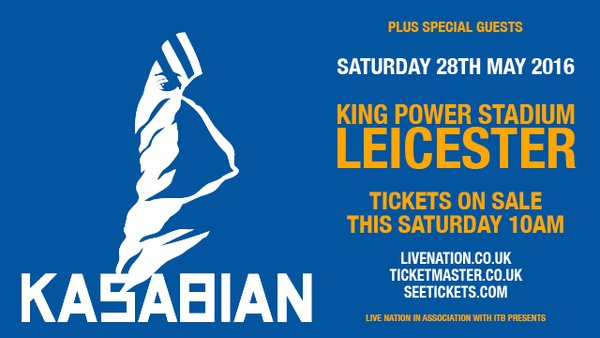 Kasabian gig poster King Power Stadium