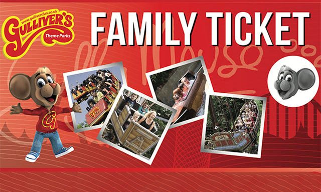 imaghes of theme park on red background